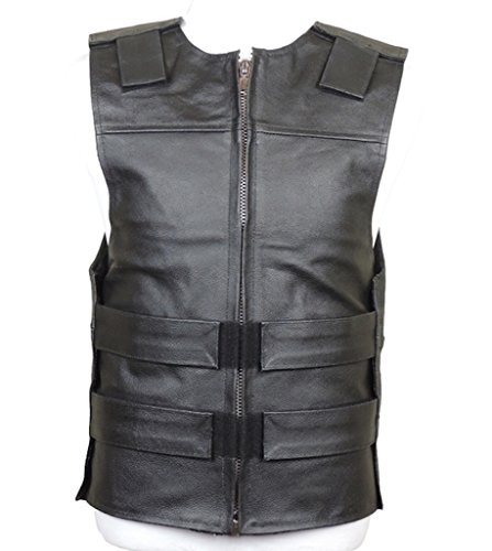 FashionAve London Mens Bullet Proof Style Leather Vest (S) -