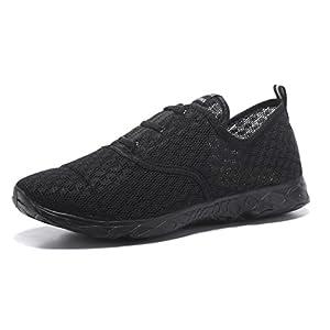 Kenswalk Men's Aqua Water Shoes Lightweight Slip On Beach Shoes (US 12, All Black)