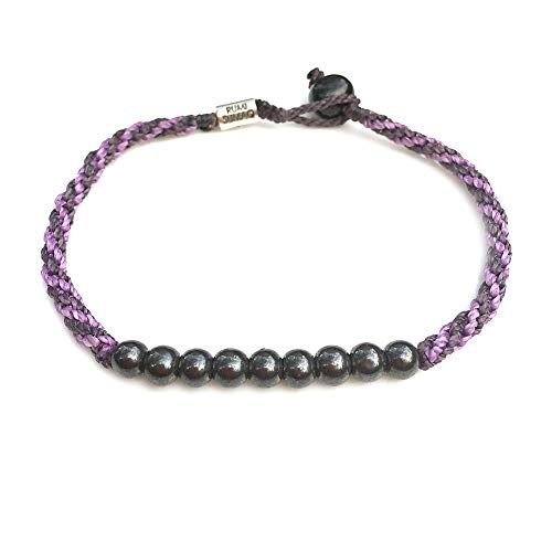 Purple Anklet Bracelet 9 Inches Woven Sailor Rope with Beaded Hematite Stones for Women: Handmade Knot Braided Beach Jewelry by Rumi Sumaq