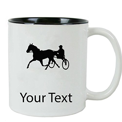 (Personalized Custom Harness Horse Racing 11 oz White Ceramic Coffee Mug with White Gift Box)