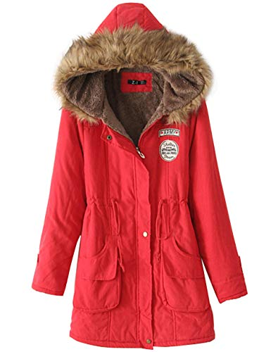 Womens Winter Warm Hooded Coat Lamb Velvet Lined Parka Thicken Cotton Jacket Outwear, Red S