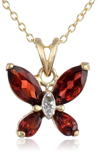 Yellow Gold-Plated Sterling Silver Garnet Butterfly Pendant Necklace, 18""