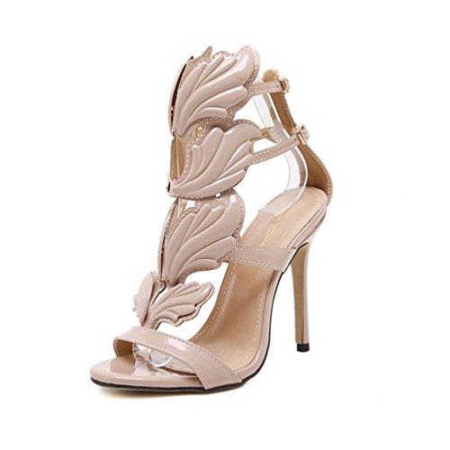 Malloom® Schuhe Mode Frauen Pumpen Blatt Flamme High Heel Schuhe Sexy Peep Toe High Heels Sandalen Volltonfarbene Metallflügel mit Offenen High Heels Khaki