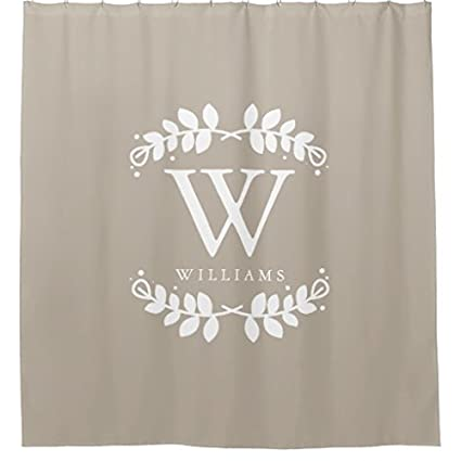Amazon Linen Beige Monogram Shower Curtain Home Kitchen