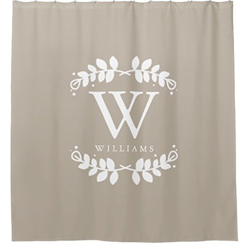 (Linen Beige Monogram Shower Curtain)
