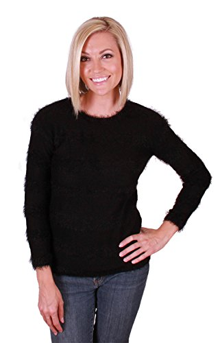 Joseph A Womens' Long Sleeve, Scoop Neck Eyelash Yarn Pullover Sweater (Large, Black Stripe)