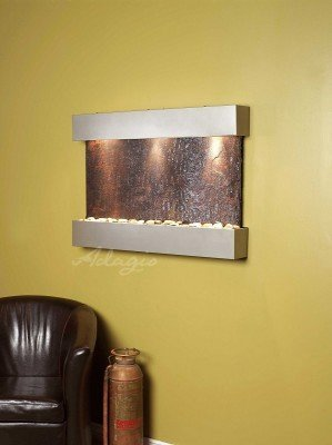 Adagio Reflection Creek With Rajah Natural Slate in Silver Metallic Finish Fount