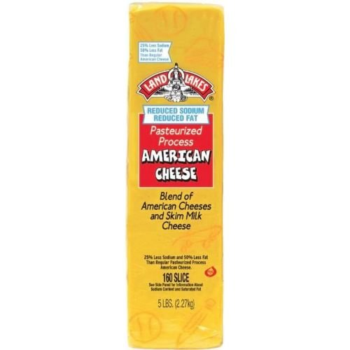 Land O Lakes 160 Slice Reduced Sodium Reduced Fat Pasteurized Process American Cheese, 5 Pound -- 6 per case.