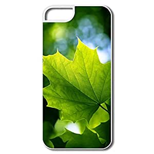 IPhone 5 5S Cases, Green Leaf Case For IPhone 5 - White Hard Plastic