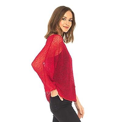 SHU-SHI Womens Sheer Blouse Top Knit Lightweight Shrug Sweater Poncho Red at Women's Clothing store