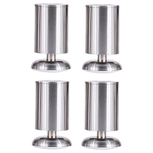 Stainless Steel Riser Set - Hineway 4 inch Wood Bed Risers Table Riser Chair Risers Sofa Riser Furniture Lifts Adjustable Heavy Duty Stainless Steel Metal Bed Risers-Additional Under Bed Storage-4 Pieces Set