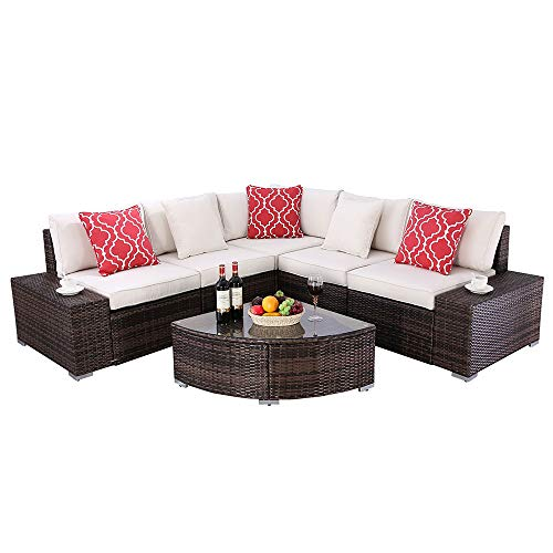 Do4U 6 Pieces Patio Furniture Sets PE Wicker Rattan Outdoor All Weather Sectional with Cushions and Coffee Table (Beige)