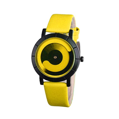 Start Unisex Women Couple Watch Creative Wave Lovers' Leather Band Watches (Yellow) ()