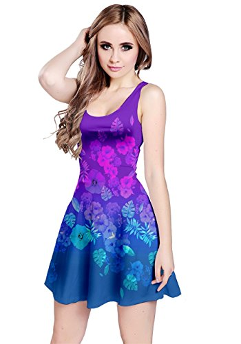 Blue Skater CowCow Marine Purple Floral Cute Doodle Whales Blue Womens Dress Seamless qxt04