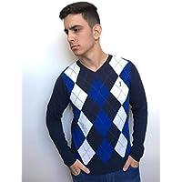 Suéter Masculino Aleatory Xadrez Safari Azul Branco