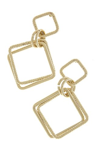 KARMAS CANVAS DOUBLE SQUARE EARRINGS (Gold)