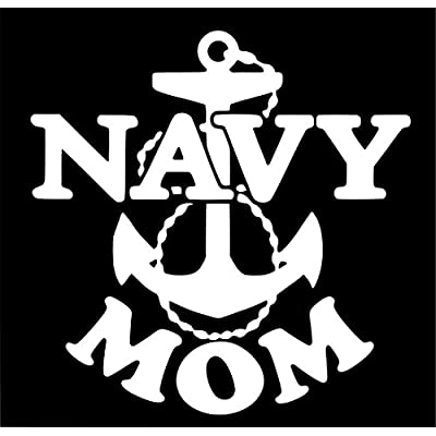 CMI NI981 Navy Mom Military Decal Sticker | 7-Inches by 7-Inches | Premium Quality White Vinyl: Automotive