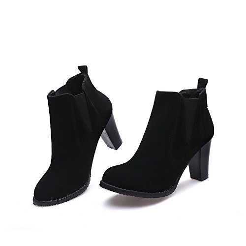 AdeeSu Womens Ankle-High Special-Occasion No-Closure Suede Boots SXC02463 Black 5yR5W