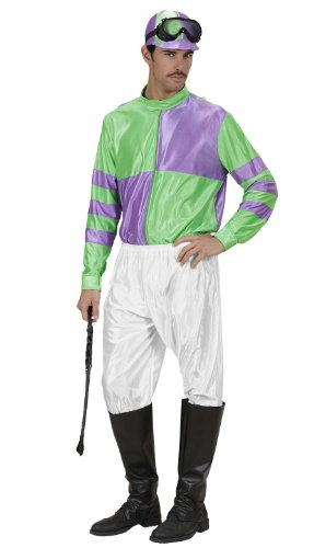 Jockey Red/yell & Grn/ppl Costume Medium For Horse Riding Sport Fancy Dress -