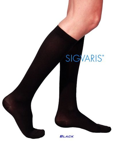 SIGVARIS Cotton 230 Men's Closed Toe Grip Top Calf High Compression Socks - Length Shorts Calf