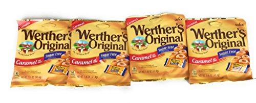 (Werther's Original Sugar Free Caramel Hard Candies, 1.46 Ounce Pack of 4)
