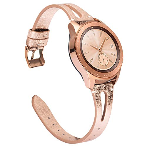 TOYOUTHS Leather Bands Compatible with Samsung Galaxy Watch 42mm/Galaxy Active 2 40mm 44mm Strap Women Men Genuine Leather Wristband Replacement for Gear S2 Classic/Gear Sport 20mm Pins Rose Gold