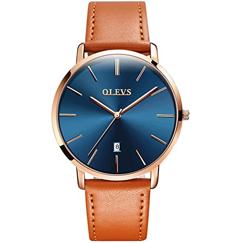 OLEVS Mens Thin Watches, Mens Blue/White/Black Dial Wrist Watches with Black\Yellow\Brown Leather Watch Strap, Men Business Watch with Date Waterproof Quartz Casual Watches