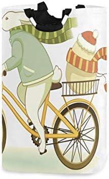 ウサギクリスマスバイクハンドル付き折りたたみ式ランドリーバスケットバスケットバッグ折りたたみ式収納汚れた服バッグ折りたたみ式洗濯ビン