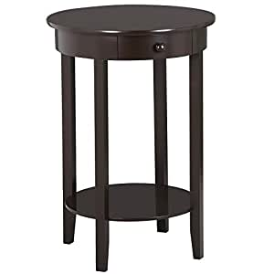 Yaheetech Round Wood Sofa Side End Table With