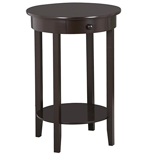 Topeakmart Wood Round Sofa Side End Tables/Accent Table With Drawers And  Lower Shelf For Home Office,Living Room (Rustic,Espresso)
