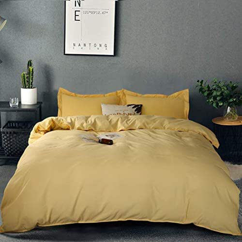 Duvet Cover Set King size Premium with Zipper Closure Hotel Quality Hypoallergenic Wrinkle and Fade Resistant Ultra Soft -3 Piece-1 Microfiber Duvet Cover Matching 2 Pillow Shams (Gold, King)