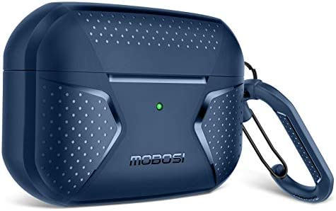 MOBOSI Net Series AirPods Pro Case Cover , Full-Body Rugged Shock Absorbing Protective Carrying Case Skin with Carabiner for Airpods Pro Wireless Charging Case, Dark Blue [Front LED Visible]