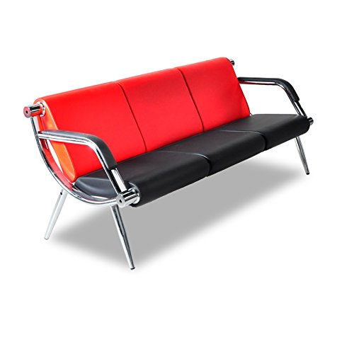 Bestmart INC 3-Seat Office Reception Sofa Visitor Guest Sofa Waiting Room Bench Airport Clinic Lounge Chairs,Black & Red PU Leather