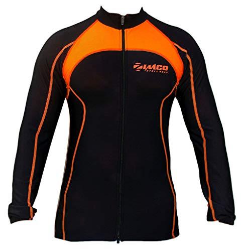 Winter Cycling Thermal Super Roubaix Fleece Jersey/Jacket Black/Orange 555 (Small)