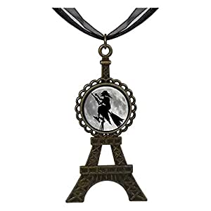 Chicforest Bronze Retro Style witch on broomstick fly over moon Eiffel Pendant