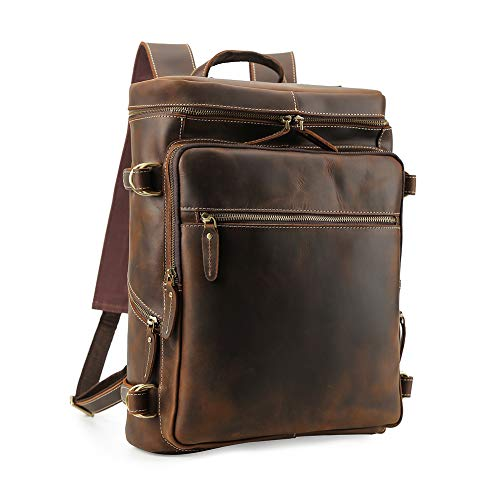 Men's Vintage Classic Leather Casual School Case Travel Weekender Outdoor Sports 15.6 Inch Laptop Suitcase Luggage Daypack Overnight Backpack Shoulder Bag Tote Handbag Brown (Retro Leather Tote)