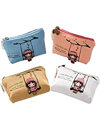 Pack of 4 Canvas Coin Purse Change Cash Bag Zipper Small Wallets