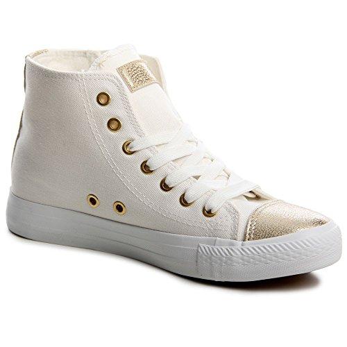 topschuhe24 550 Damen Sneaker Turnschuhe, Farbe:Weiß;Größe:36