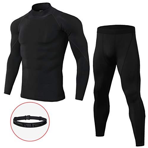 Belababy Thermo-Unterwäscheset für Herren, Langarmhemd für Herren, Sportgamaschen für Herren, leichte Thermo-Unterwäsche mit enganliegendem Schnitt