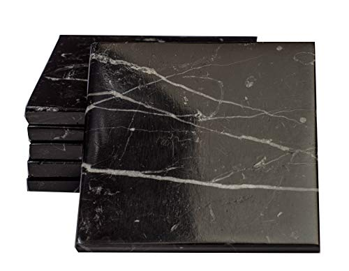 (CraftsOfEgypt Set of 6 - Black Marble Stone Coasters - Polished Coasters - 3.5 x 3.5 Inches (9x9 cm) Square - Protection from Drink Rings)