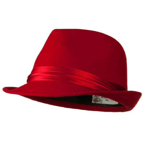Fedora with Pleated Satin Band - Red OSFM