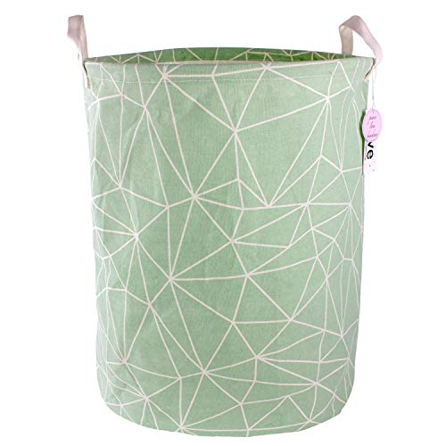 Lilly's Love Round Laundry Basket for Boys Geometric Lines on This Large Storage Hamper Make it fit Girls Rooms Too. Water Resistant Cotton Canvas Collapsible -
