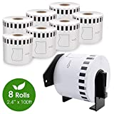 """COLORWING DK-2205 Brother Labels 2.4"""" x 100 feet, 8 Roll 62mm x 30.48m Cut-to-Length White Shipping Label with 1 Refillable Cartridge, for Brother QL-810W 820NWB"""