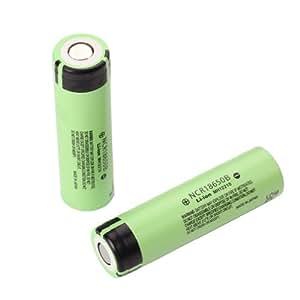 18650 NCR18650B - Juego de 2 pilas recargables para Panasonic (3,7 V, 3400 mAh, iones de litio)