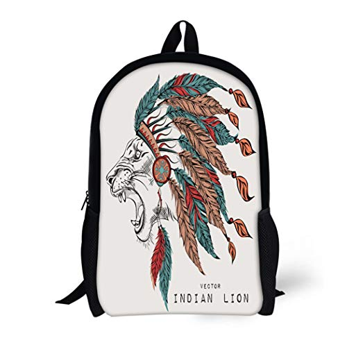 Pinbeam Backpack Travel Daypack Lion in the Colored Indian Roach Feather Headdress Waterproof School -