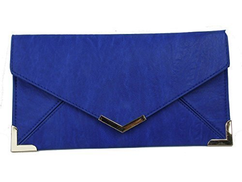 Diva's Hand Leather Haute Prom Faux Blue Womens For Clutch Bridal Purse Party Royal Envelope Bag Small Gold Trim 6xXnY5znw