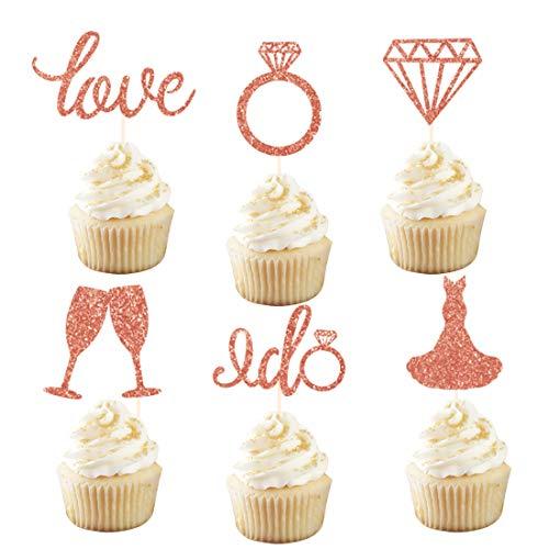 KREATWOW Bridal Cupcake Toppers Picks Rose Gold Glitter Ring Diamond Love Dress I Do Cupcake Toppers for Bridal Shower Wedding Set of - Rings Ca Engagement