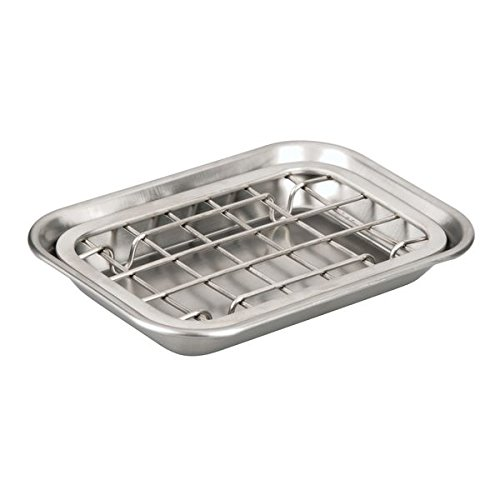 2 Piece Dish (InterDesign Gia Two-Piece Bathroom Soap Dish and Drainage Tray Stainless Steel, Brushed)