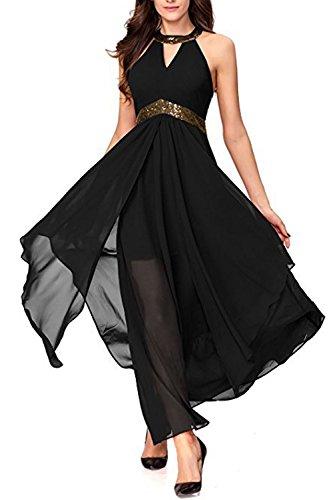Yacun Mujeres Vestido Fiesta A Largo Vestido De Dama De Honor Coctel De Por La Noche Verano Black