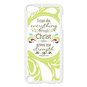 iPod 5 Case,Bible Verse Philippians 4:13 Hard Snap-On Cover Case for iPod Touch 5, 5G (5th Generation)